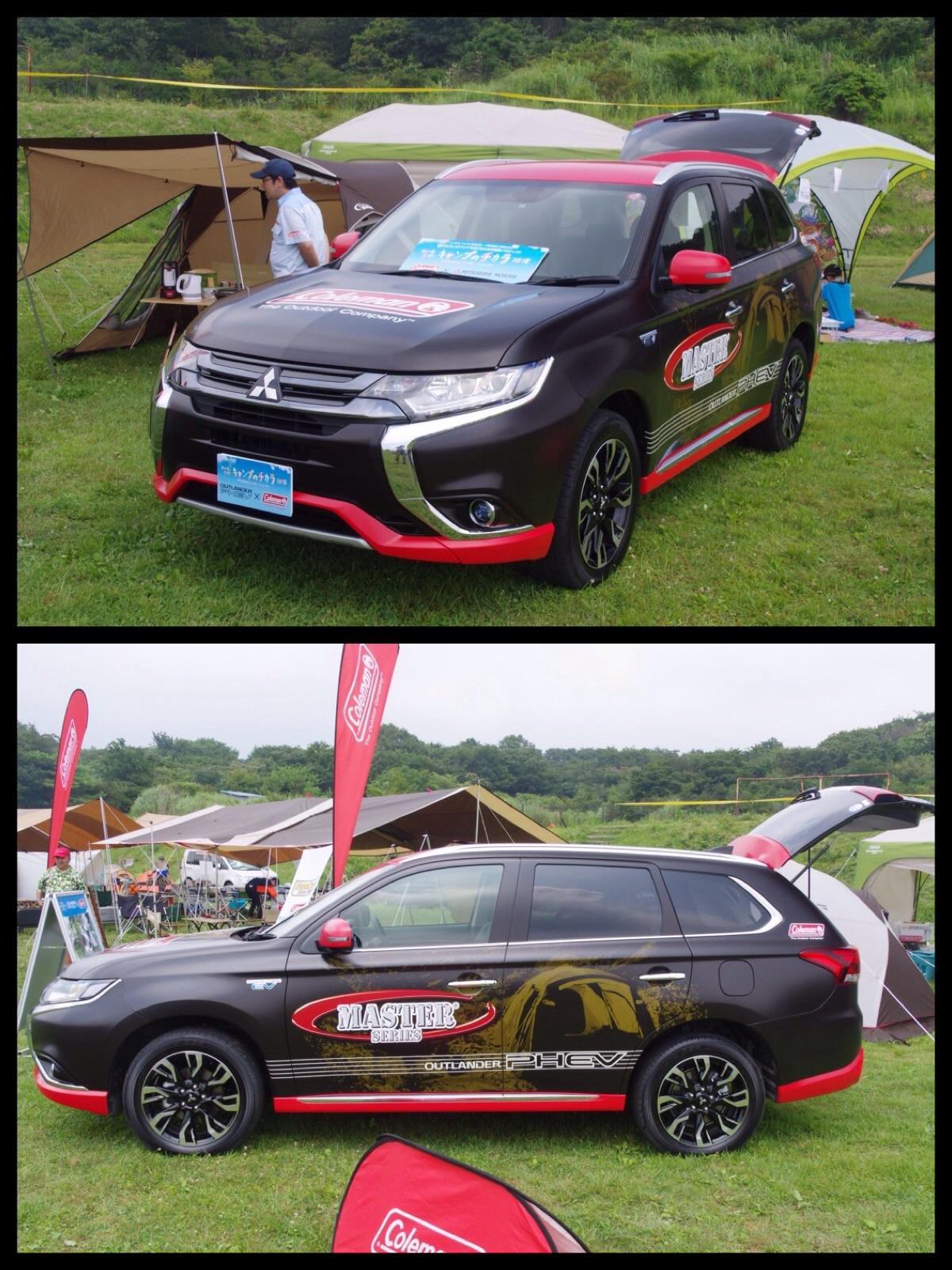 三菱スターキャンプ2015 新型アウトランダーPHEVコールマンラッピングカー