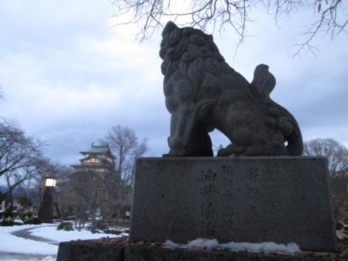 高島城と狛犬さん