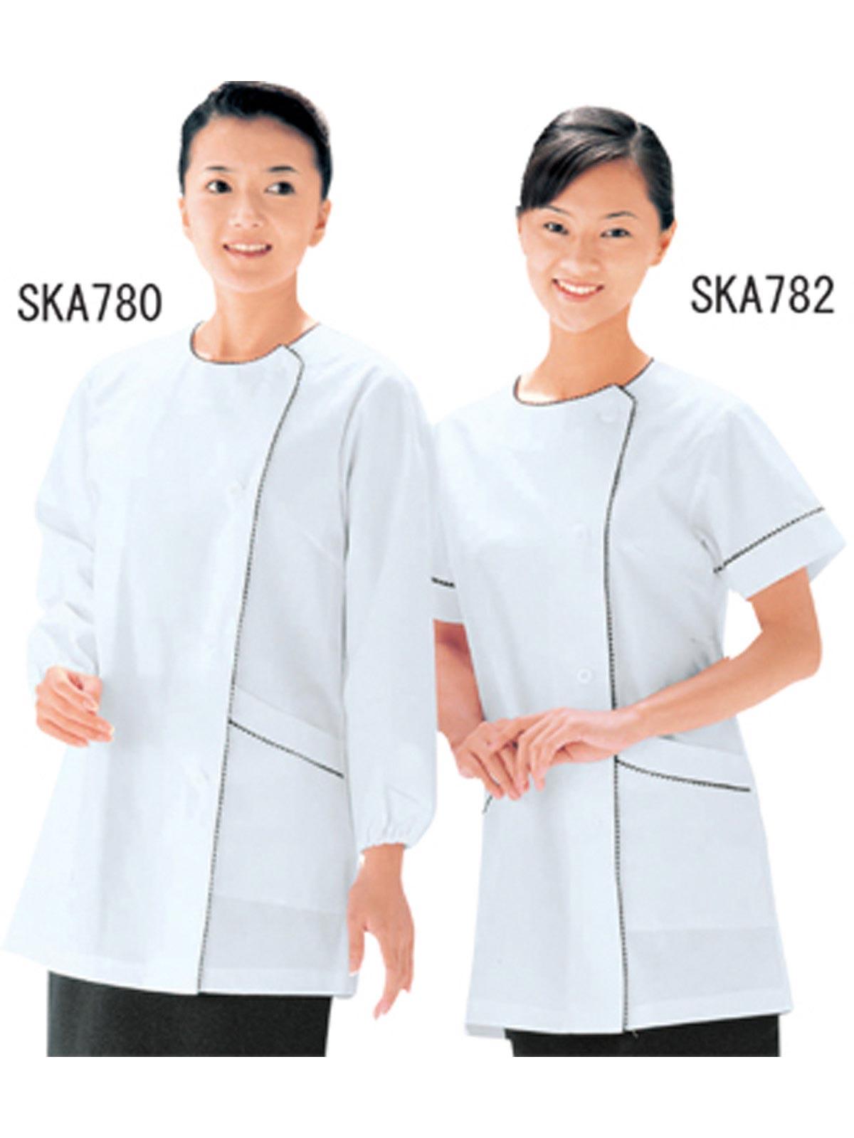 女子パイピング長袖白衣 SKA780
