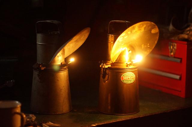 カーバイト カーバイト アセチレン ランプ ダブルで灯火