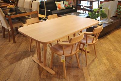 飛騨家具 キツツキ 無垢材 ダイニングテーブルセット