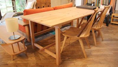 無垢材 作業台テーブル ダイニング 教室 W200