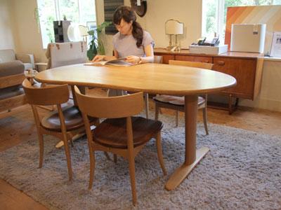 飛騨家具 無垢 ダイニングテーブル ビーンズ型