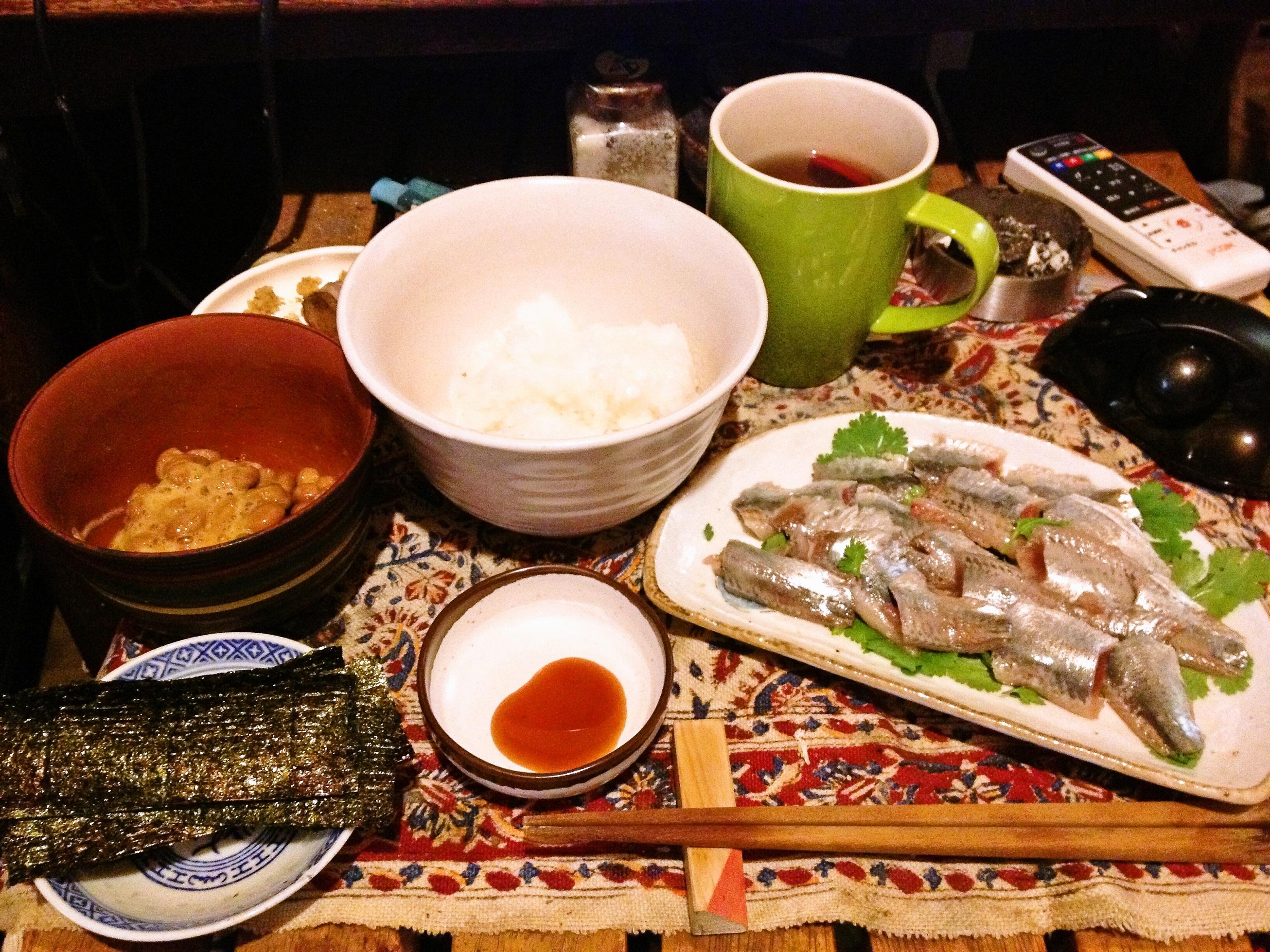 鰯パクチー納豆定食