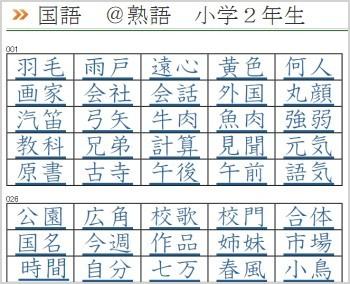 漢字 熟語リスト 二年生