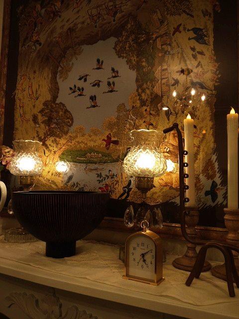 コロニアル 照明 ヴィクトリアン アンティーク ヴィンテージ テーブルランプ プリズム ガラス