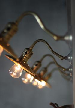 USAヴィンテージ真鍮製皿状シェード&ミニ角度調整付きブラケットランプC/インダストリアル照明工業系アンティークライト