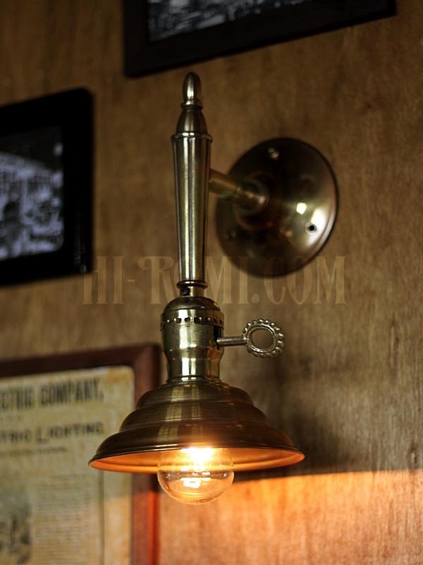 USAヴィンテージ鍵スイッチ付ソケット&ビーハイブ型シェード真鍮ブラケットA/コロニアル照明壁掛けランプ