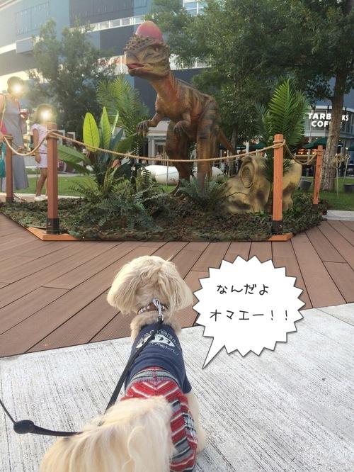 恐竜にわんこら