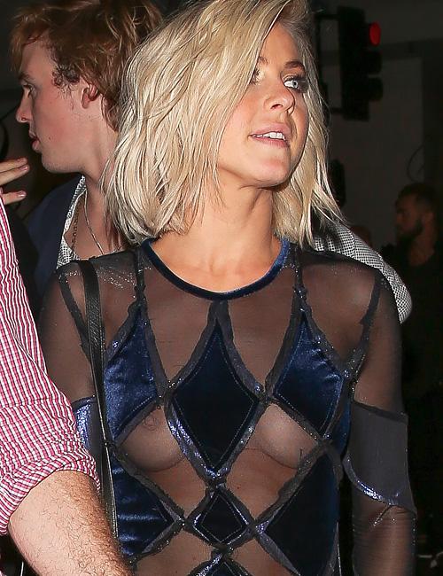 アメリカの歌手、ジュリアン・ハフの乳首透けパパラッチ画像www