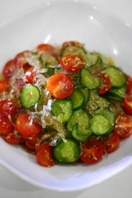 きゅうりとミニトマトの寒天サラダ2
