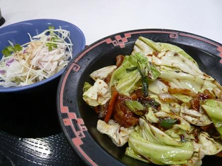 餃子の王将:チョイスセット;回鍋肉、棒々鶏サラダ