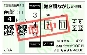 【的中馬券】0711函館4(日刊コンピ 馬券生活 的中 万馬券 三連単 札幌競馬)