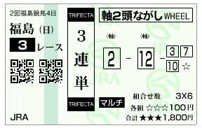【馬券】0712福島3(2)(日刊コンピ 馬券生活 的中 万馬券 三連単 札幌競馬)