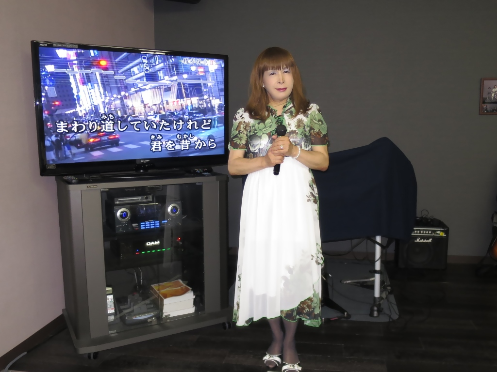 緑花柄シフォンドレスカラオケ(1)