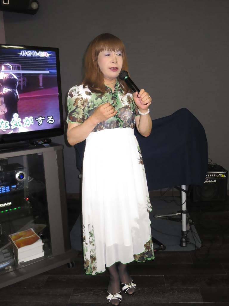 緑花柄シフォンドレスカラオケ(3)
