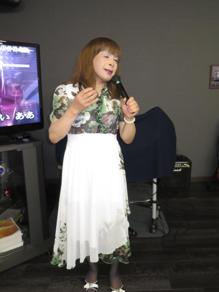 緑花柄シフォンドレスカラオケ(5)