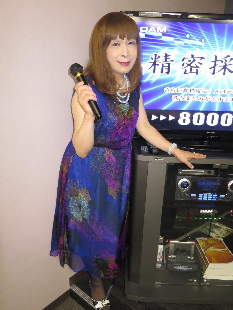 青紫シフォンドレスカラオケ(4)