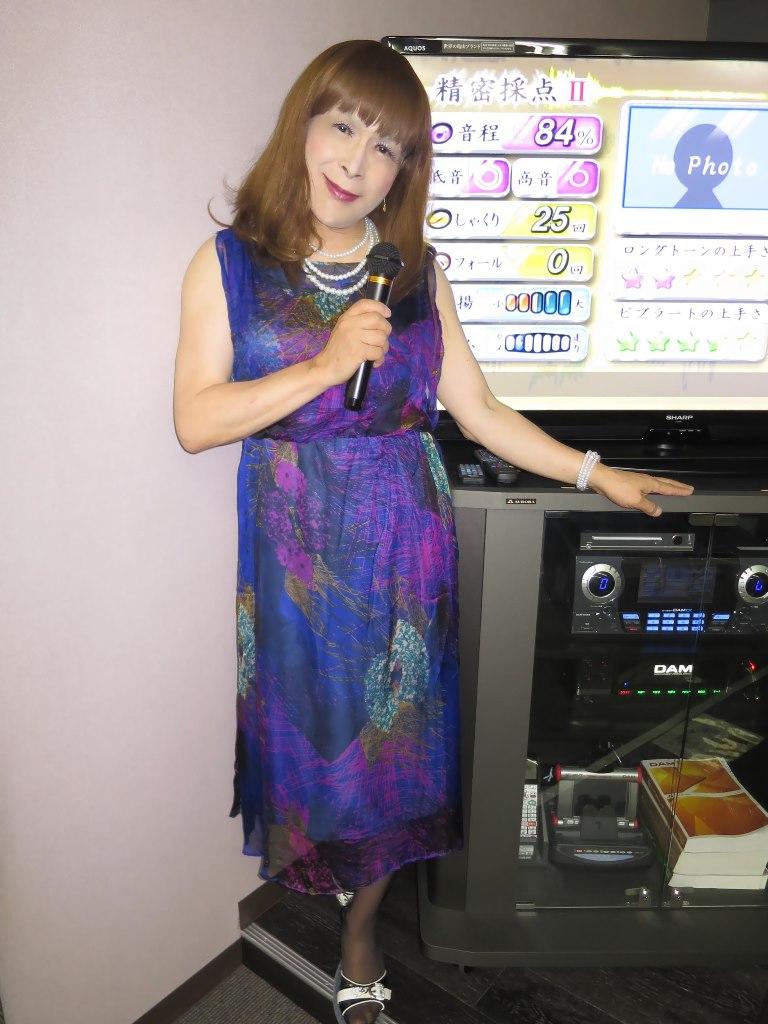 青紫シフォンドレスカラオケ(5)