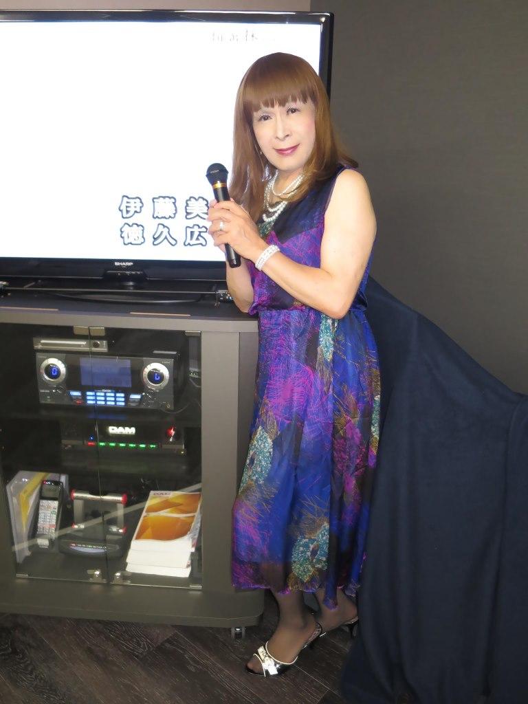 青紫シフォンドレスカラオケ(8)
