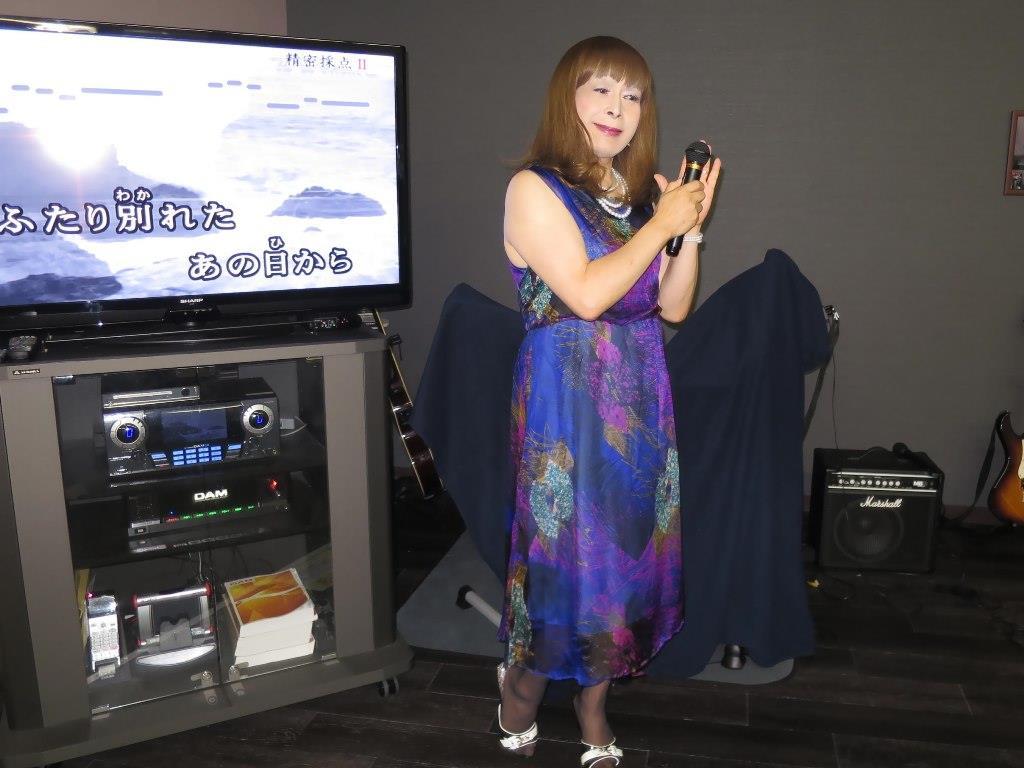 青紫シフォンドレスカラオケ(10)