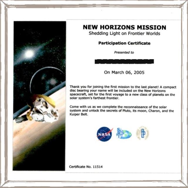 New Horizons 証明書