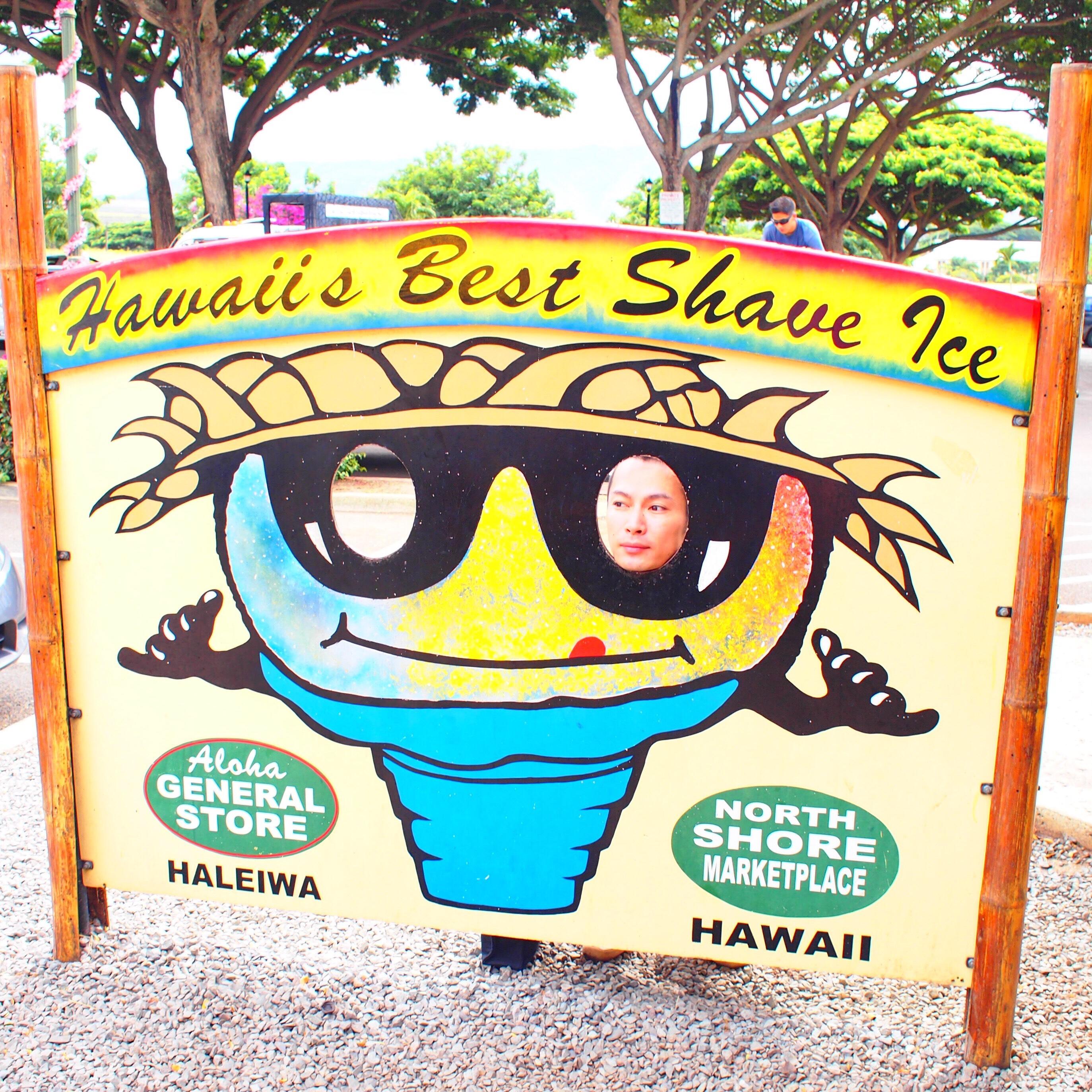 ハワイ ノースショア アロハジェネラルストア  顔ハメ看板