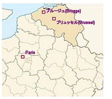 ブルージュとブリュッセルの地図