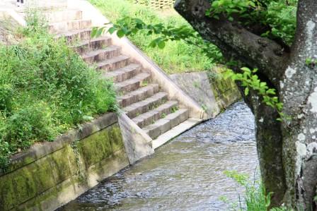 有栖川へ降りる階段_H27.04.24撮影