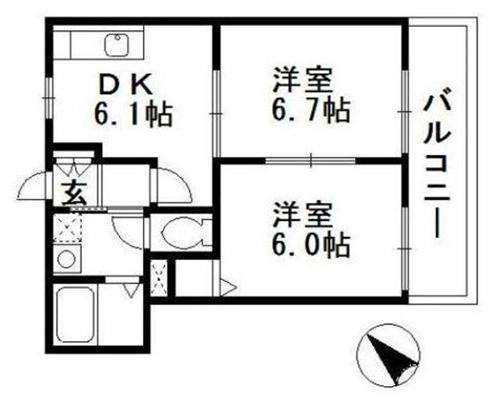 ■物件番号4124 海5分の海近!チーパーでサーフィン!2DKマンション!2階!敷地P有り!人気の都市ガス!6.9万円!