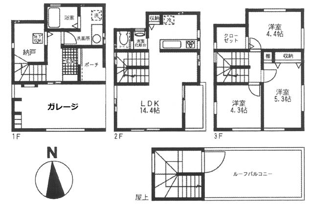 ■物件番号4142 駅も海も徒歩圏!分譲3LDK+ガレージ+屋上+WIC!ペット可!更新可!13.5万円!り