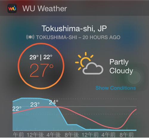 ウィジェット画面Weather Underground