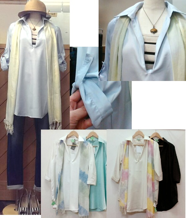 7分袖スキッパーシャツ ¥2200+税