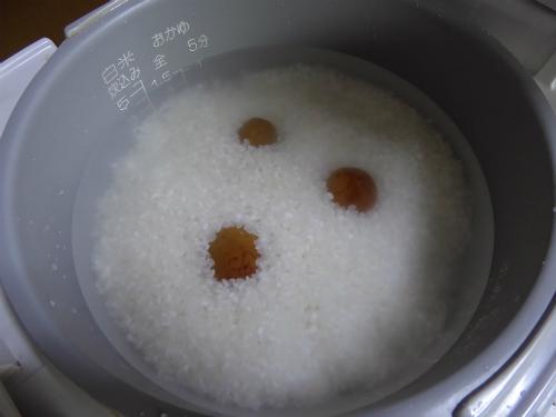 梅干しごはんを炊きます。