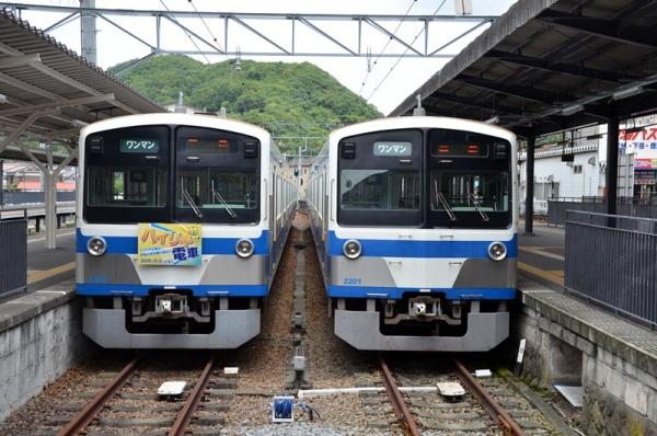 1300系電車並び@修善寺(2015年6月22日)