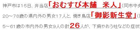 tok弁当店、焼き鳥店で計26人が食中毒 神戸