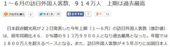 news1~6月の訪日外国人客数、914万人 上期は過去最高