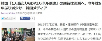 news韓国「1人当たりGDP3万ドル到達」の期待は消滅へ、今年は6年ぶり減少か―韓国メディア