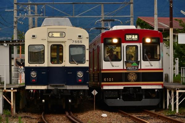 2015年7月20日 上田電鉄別所線 城下 7200系7255編成/6000系6001編成