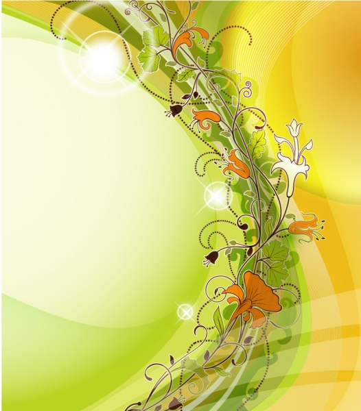 美しい植物の蔓が巻いた背景 Abstract background with flowers elements vector
