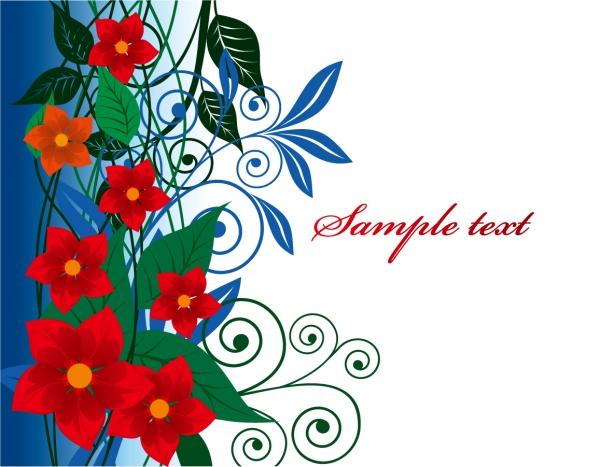 赤い花ビラが美しい背景 Floral border vector