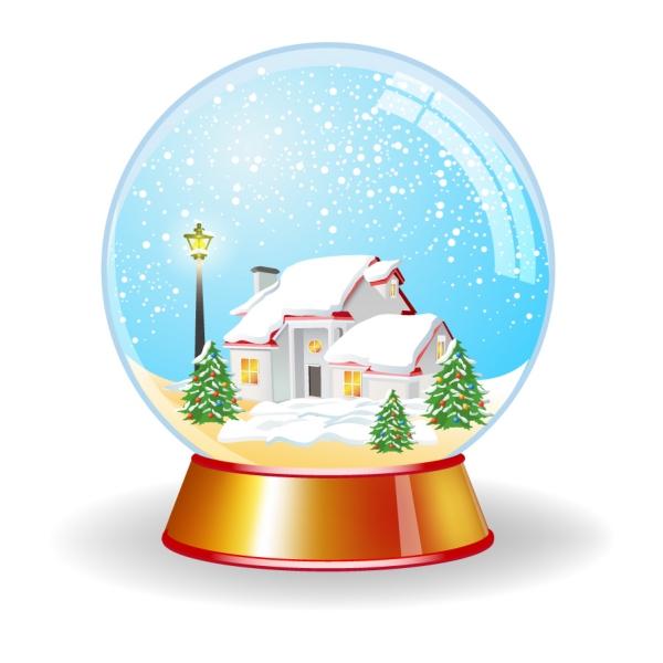 スノー グローブ Crystal magic globe with house unde snow