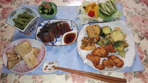 晩ご飯 天ぷら・鰹たたき・ちまき