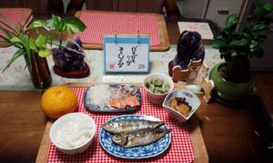 晩ご飯 刺身・焼き魚