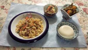 マカロニパスタ 肉じゃが 南京と豆煮物