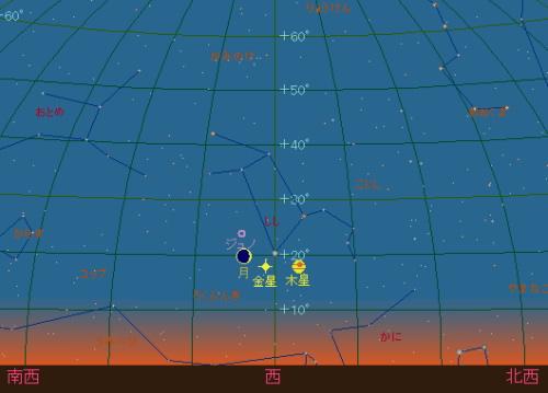 20150719 細い月と金星と木星星図