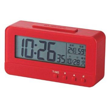 ELECOM デジタル目覚し時計 コンパクトサイズ 温湿度計 レッド