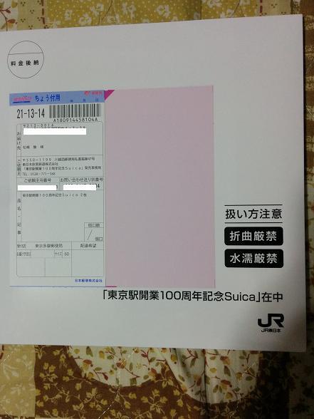 東京駅100周年記念suica到着