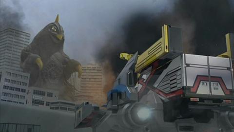 宇宙大怪獣ベムスターに立ち向かうランドマスケッティ