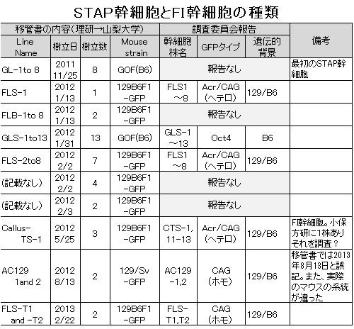 STAP幹細胞とFI幹細胞の種類